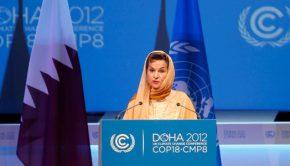 Christiana Figueres, secrétaire exécutive de la Convention-cadre des Nations Unies sur les changements climatiques (CCNUCC), à l'ouverture de la conférence sur le climat à Doha