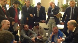 Debriefing avec Laurent Fabius lors de la COP